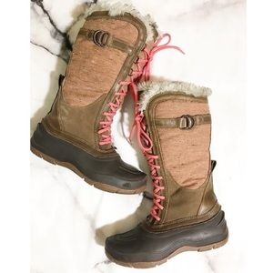 The North Face brown and pink high lace boots